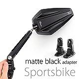 KiWAV Magazi Achilles motorcycle mirrors black fairing mount w/ matte black adapter for sports bike adjustable e