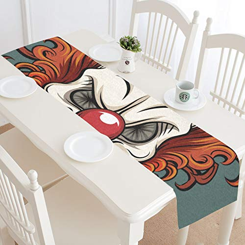 WIEDLKL Evil Scary Clown Halloween Monster Joker Table Runner Kitchen Dining Table Runner 16x72 Inch for Dinner Parties Events Decor]()