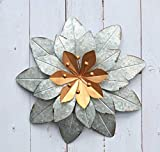 GIFTME 5 Galvanized Metal Layered Flower Outdoor Wall Art Decor Silver Home Accents