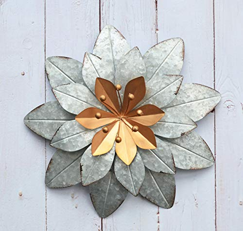GIFTME 5 Galvanized Metal Layered Flower Outdoor Wall Art Decor Silver Home Accents Decor11.5x1.5 -