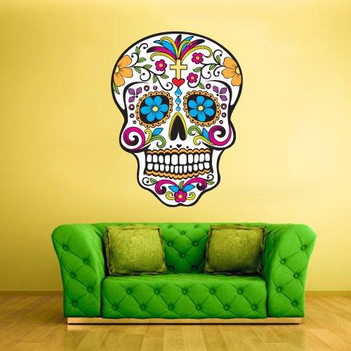 Full Color Wall Decal Mural Sticker Decor Art Beautyfull Cute Sugar Skull Bedroom Curly Modern Fashion (Sugar Skull Bedroom Decor)
