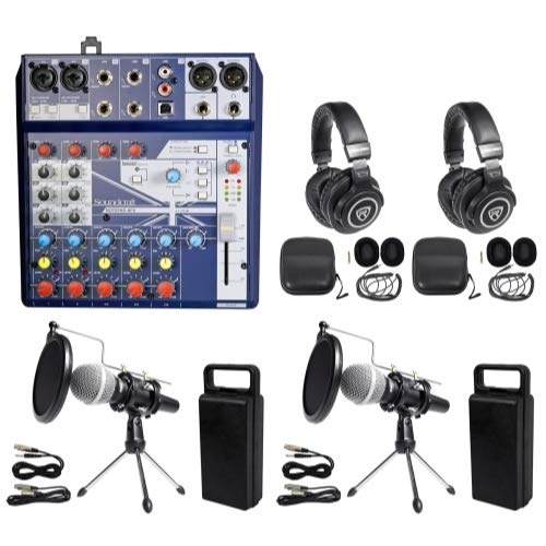 Podcast Kit Soundcraft Mixer+Headphones+Mic+Stand ()
