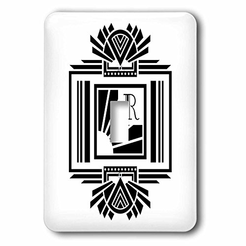 (Russ Billington Monograms- Art Deco Initial R - Monogram Letter R- Black on White Art Deco Initial - Light Switch Covers - single toggle switch (lsp_241169_1))