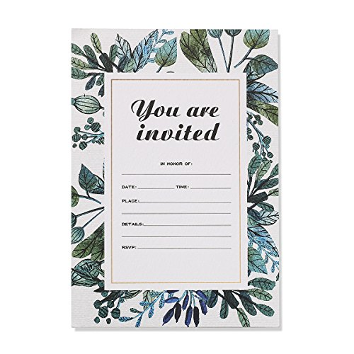 30 Fill-In Invitations with Envelopes, Beautiful Green Wedding Invitation Cards, Bridal Shower, Baby Shower, Reception, Rehearsal Dinner, Birthday Invites Blank Rehearsal Dinner Invitations