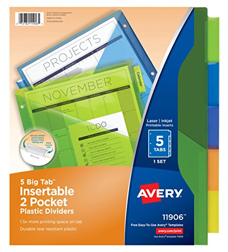 (Avery Big Tab Insertable Two-Pocket Plastic Dividers, 5 Multicolor Tabs, Case Pack of 24 Sets (11906))