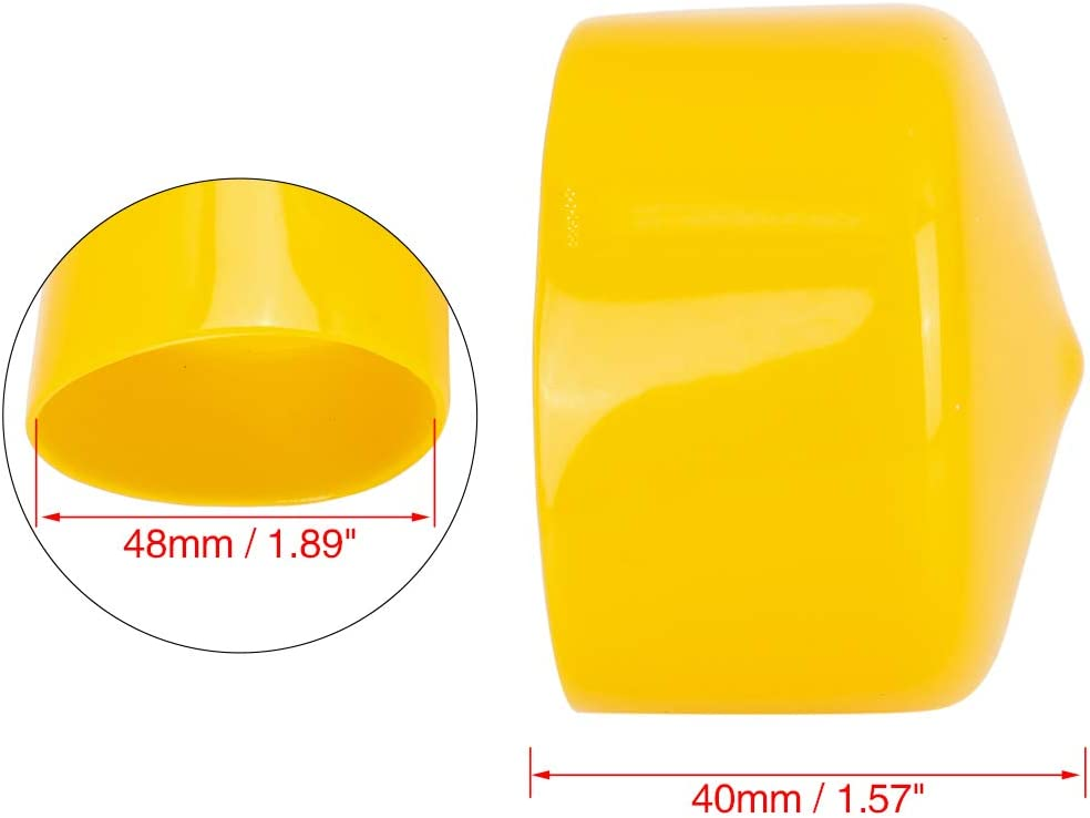 X AUTOHAUX 4pcs Screw End Caps 48mm 1.89inch ID Round PVC Bolt Thread Protectors Cover Yellow for Car