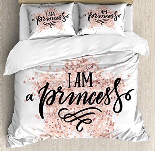 Ambesonne I am a Princess Duvet Cover Set, Modern Calligraphic Words on Dotted Background Hand Lettering, Decorative 3 Piece Bedding Set with 2 Pillow Shams, King Size, White Black