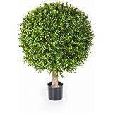 Boule de buis artificiel TOM sur tronc, 1080 feuilles, 55 cm, Ø 40 cm – buis plastique / plante artificielle buis - artplants