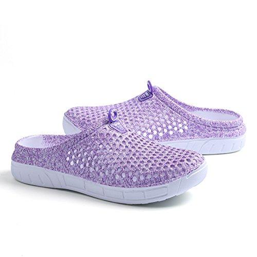 Coolloog Unisex Garden Clogs Shoes Casual SlippersComfort Lightweight Anti-Slip Beach Shoes for Men and Women Purple