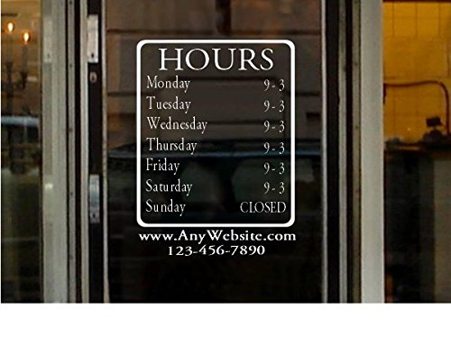 StickerLoaf Brand LARGE STORE HOURS 12x15 NAME CUSTOM WINDOW DECAL BUSINESS SHOP Storefront VINYL DOOR SIGN COMPANY law office medical antique boutique cafe