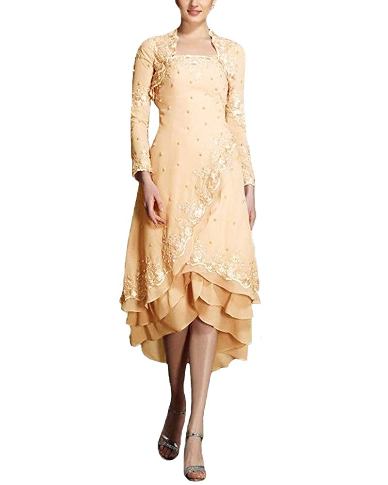 Champagne JINGDRESS Tea Length Beaded Mother of The Bride Dresses with Long Sleeve Jacket Two Piece for Women