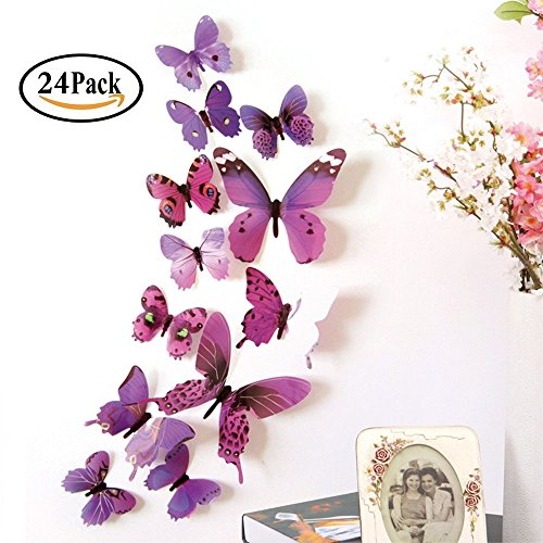 Trubetter Butterfly Wall Decals, 24 Pcs 3D Butterfly Removable Mural Stickers Wall Stickers Decal Wall Decor for Home and Room Decoration - Purple