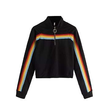 Amazon.com: Womens Tops, Limsea Casual Solid Splicing Zipper Stripe Pullover Sweatshirt: Clothing