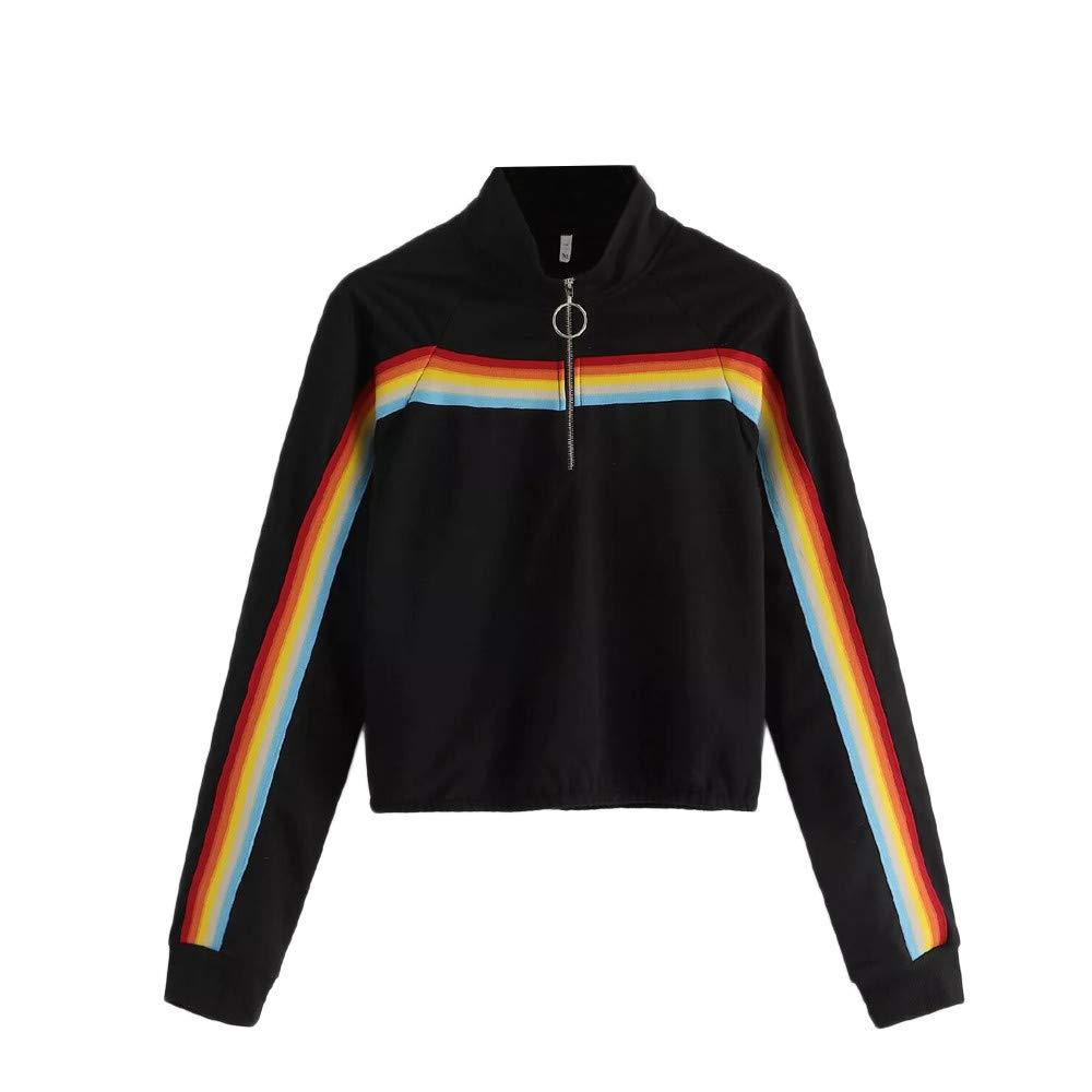 Women's Coats & Jackets, Plus Size Womens Tops, Casual Womens Sweatshirt Solid Splicing Zipper Stripe Pullover Sweatshirt (Black, S)