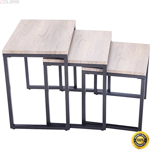 COLIBROX--3PC Stacking Nesting Coffee End Table Set Living Room Modern Home Furniture New,3 piece coffee table set,cheap coffee tables for sale,modern coffee table sets,coffee table (Sale Furniture Cheap For Sets Room Living)