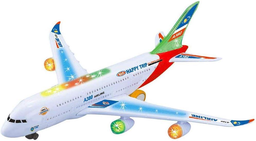 XuBa Simulación eléctrica Aviones 360o Rotación Avión Juguete Jet con luces intermitentes & Sonidos realistas del motor 360o Rotación A380 Avión Modelo Juguete para Niños Regalos