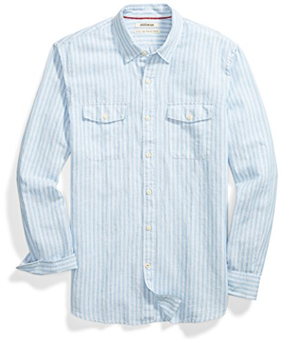 Goodthreads Men's Standard-Fit Long-Sleeve Linen and Cotton Blend Shirt, Light Blue/Multi Stripe, -
