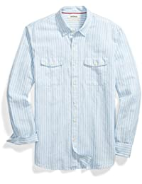 Men's Standard-fit Long-Sleeve Linen and Cotton Blend Shirt,