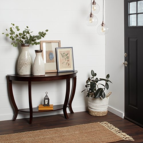 Price comparison product image Elegant Hollow Wood Accent Table, Stylish and Functional, Made of Hardwood, Lower Storage Shelf for Additional Space, Legs Curve Inward, Non-Mar Foot Glides, Smooth Lines Decor, Espresso Finish