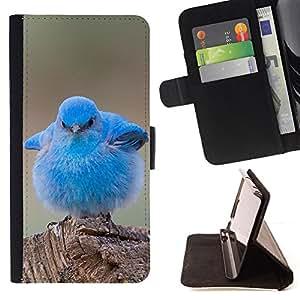 BullDog Case - FOR/Sony Xperia Z2 D6502 / - / blue baby chick cute bird tropical spring /- Monedero de cuero de la PU Llevar cubierta de la caja con el ID Credit Card Slots Flip funda de cuer