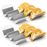 "4 Pack - Stylish Stainless Steel Taco Holder Stand, Taco Truck Tray Style, Rack Holds Up to 3 Tacos Each, Oven Safe for Baking, Dishwasher and Grill Safe, 4"" x 8"", by California Home Goods"
