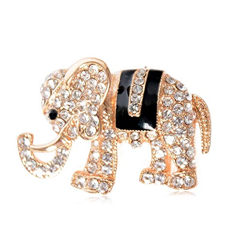 Babasee Indian African King Elephant Rhinestone Animal Kingdom Gold Tone Brooch Pin