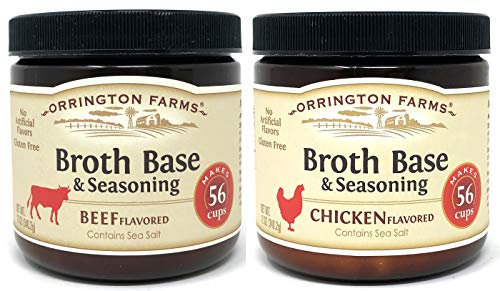 Orrington Farms Beef Broth and Chicken Broth Base 12 Ounce (Pack of 2) - Makes 56 Cups of Each Broth ()