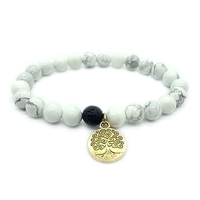 9774940f7e1 Y Natural White Turquoise Gemstone Beads Bracelet Stretch Gold Tree of Life  Lava Stone