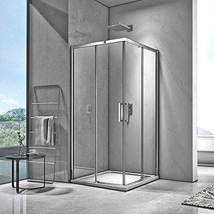 DOCCIAVIVA Ducha en Esquina, 80 x 80 cm, 2 Puertas correderas, Espacio: Amazon.es: Hogar