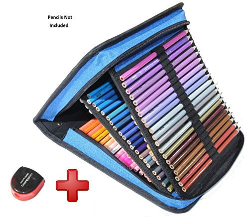 Pencil Case By Aviosa: 120 Slot Foldable Pen & Pencil Case For Students, Artists & Designers – Large Coloring Pencil Container With A Handle Strap & Easy Zipper – Free Bonus Gift A Pencil Sharpener (Pencil 120 Holds Case)