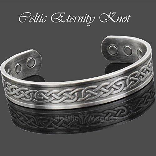 Copper Bracelet Pain Relief Magnetic Bracelet Arthritis Carpal Tunnel Tennis Elbow Healing Bracelet Antique Silver - Celtic Eternity Knot (L: Wrist 7.7