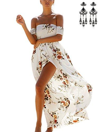 b949fa1d311 MODETREND Mujer Vestidos Playa Largo de Manga Corta Off Shoulder con  Florales Impresa Partido Vestido Fiesta de Noche: Amazon.es: Ropa y  accesorios