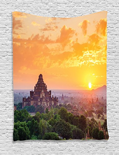 Home Decor Tapestry by Ambesonne, Aerial View Of Famous Asian Temple On Top Of The MountaIn Horizon Town Mystery Scenery, Bedroom Living Room Dorm Decor, 40 W x 60 L Inches, Orange Green