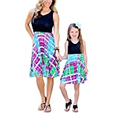 Mother Daughter Matching Tank Dress Set Family Clothes Outfits Beach Sundress (XXXL, Mom's)