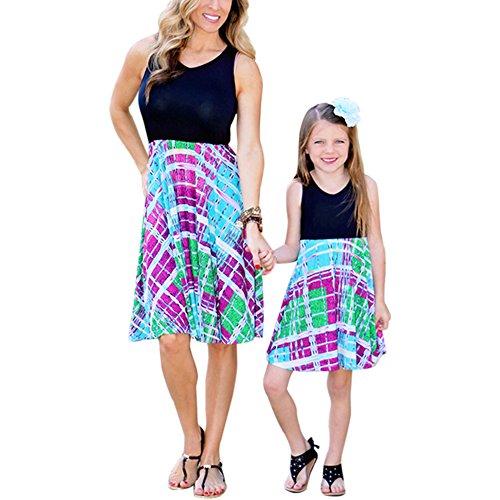 Mother Daughter Matching Tank Dress Set Family Clothes Outfits Beach Sundress (XXXL, Mom's) by Goocheer