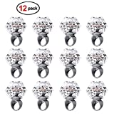 Konsait Flashing Led Light up Ring Toys Diamond Grow in the Dark Jelly Bumpy Rings for Birthday Bachelorette Bridal Shower Gatsby Party Favors (12pcs)