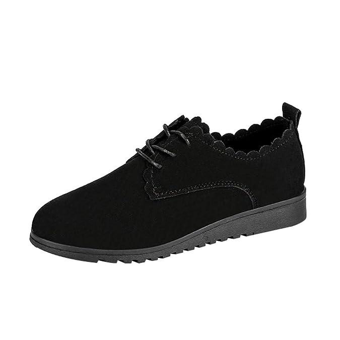 ALIKEEY Señoras De Moda Mujer Zapatos De Gamuza Plana Casual Lace Up Zapatos De Tobillo Botas Cortas Negras Seguridad: Amazon.es: Zapatos y complementos