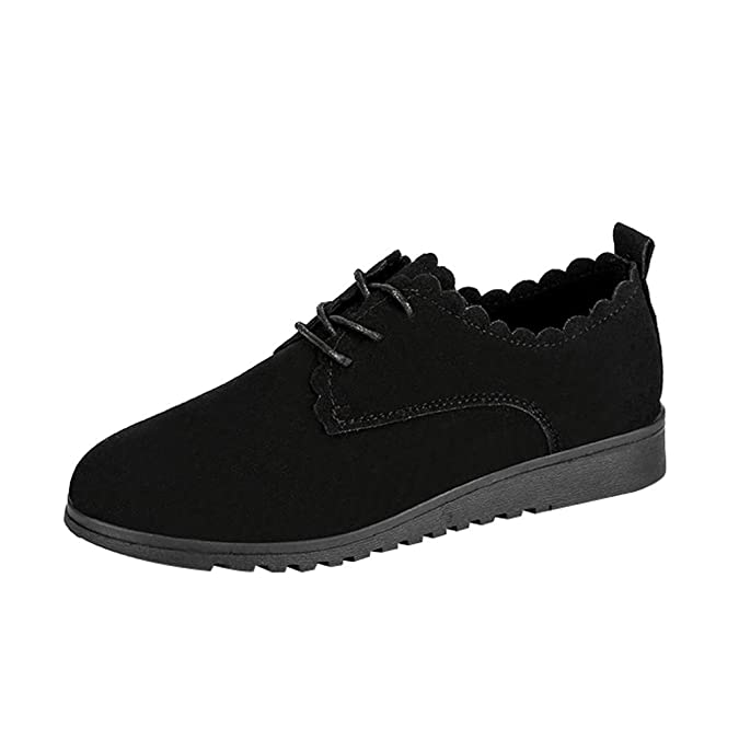 Amazon.com | XUANOU Ladies Fashion Women Flat Suede Shoes Casual Lace Up Ankle Shoes Black Short Boots Safety | Shoes