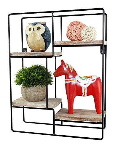 (Spiretro Wall Mount Rectangle Metal Floating Shelf, Storage Rack, Rustic Torched Wood with Espresso Modern Bracket to Organize Decorative and Display for Living Room Bedroom Kitchen Bathroom Closet)