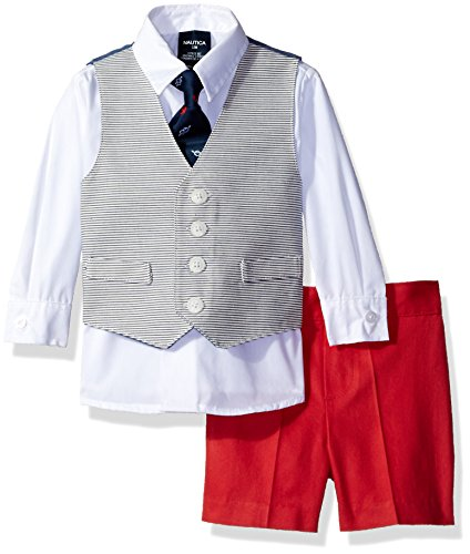 - Nautica Baby Boys' Horizontal Stripe Vest, Shirt and Short Set with Necktie, Dusty Rose, 3-6 Months