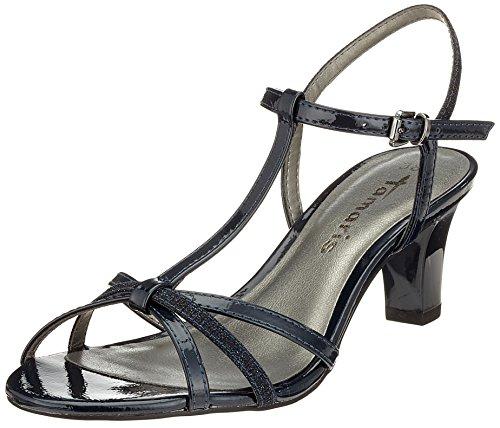 Tamaris Women's 28329 T-Bar Sandals, Rosa (Rose Met./Glam. 573) Blue (Navy Pat/Glam 797)