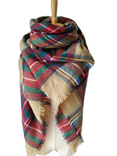 POSESHE Stylish Warm Blanket Scarf Gorgeous Wrap Shawl, A Brown Red-2, One Size
