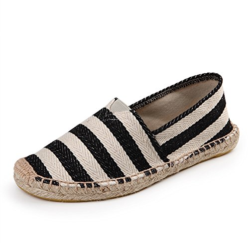 fereshte Unisex Men's Women's Comfort Canvas Flax Elastic Lace Oxford Sole Flat Espadrilles For Valentine L-Stripe Black Qf5xBms