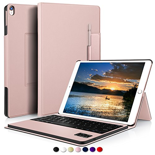 Pencil Keyboard (IVSO Apple iPad Pro 10.5 Case With Keyboard Ultra-Thin DETACHABLE Wireless Keyboard Stand Case/Cover + Pencil holder for Apple iPad Pro 10.5-inch 2017 Version Tablet(Rose Gold))