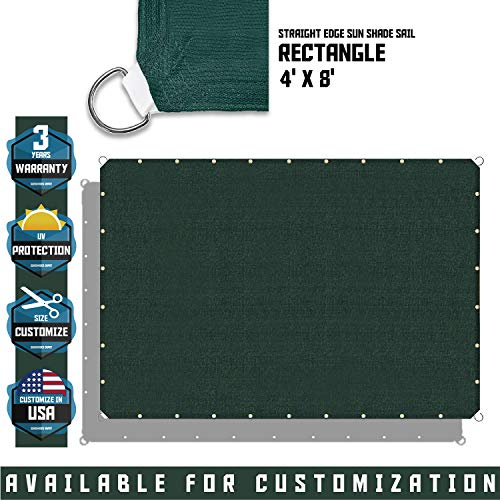 TANG Sunshades Depot 4 x8 Straight Side Sun Shade Sail 180GSM Green Patio Rectangle Shade Fabric UV Blocker Shelter Deck Dock Carport Driveway Pergola Cover Outdoor Backyard Deck 3 Year Warranty