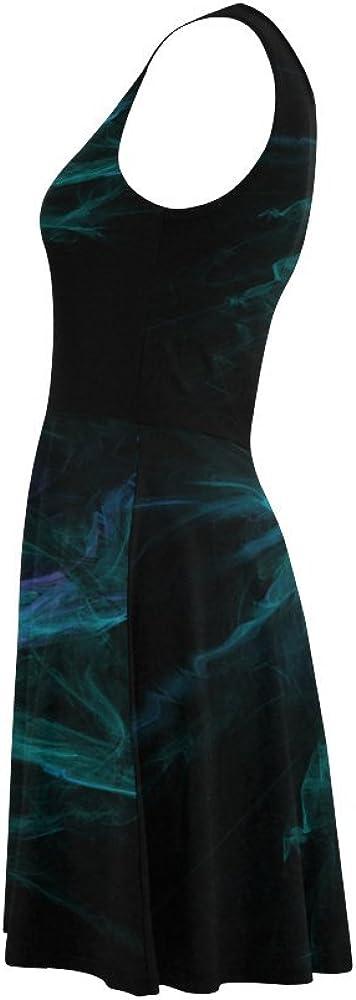 Custom Summer Sundress Blue And Green Flame Fractal Sundress