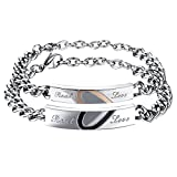 Cupimatch 2PCS Couples Bracelets Set Stainless Steel Real Love Heart Puzzle Matching Link Chain Bangle