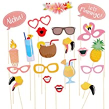 Rubikliss Luau Hawaii Themed Summer Party Photo Booth Props 21-Kit DIY Luau Party Supplies for Holiday, Summer Festivals Celebrations, Beach Pool Parties