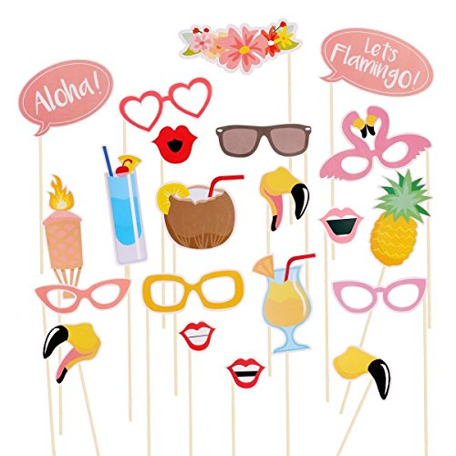 Rubikliss Luau Hawaii Themed Summer Party Photo Booth Props 21-Kit DIY Luau Party Supplies for Holiday, Summer Festivals Celebrations, Beach Pool Parties (Printable Halloween Bingo Games)