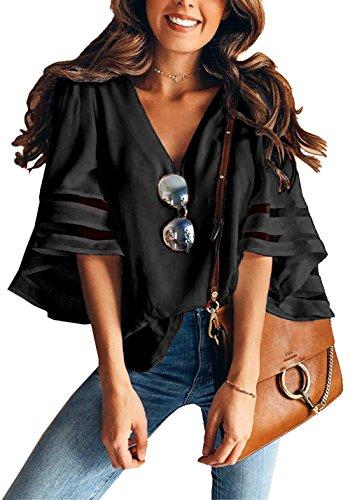 Maglietta Kinikiss per a Camicia V Manica 3 a Donna Scollo Vuota per con Nero 4 Donna Corno Splice qrfOZqWH